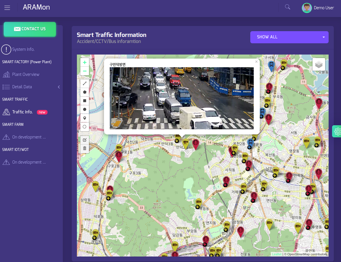 Map based angular application show CCTV video